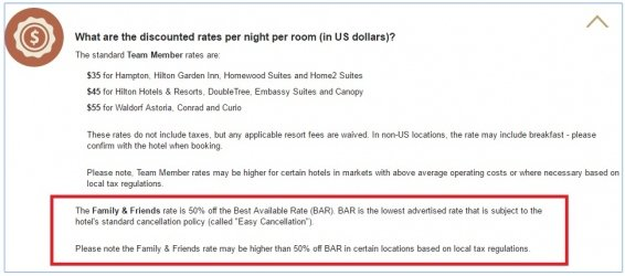 Hilton Friends and Family Rates