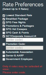 Updated Starwood Corporate Rate Code List for November 2016