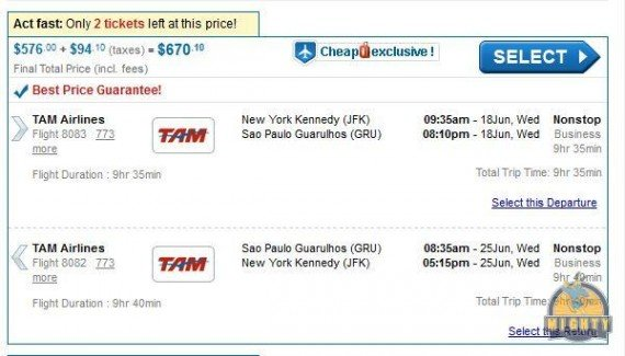 Mistake to Brazil? JFK to Rio and others $648 Business Class