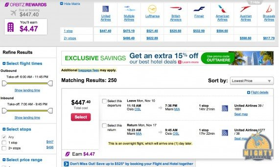 Airfare Deal – Oslo, Norway to Miami, FL just $448 on United November/ December date