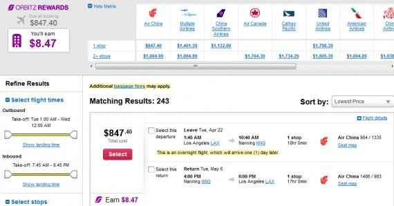 Airfare Deal – from Los Angeles to Nanning, China $847 on Air China