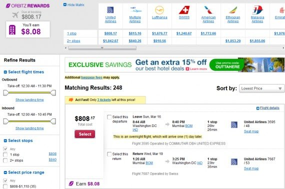 Airfare Deal – from Washington DC to Mumbai, India $808 on United Airlines