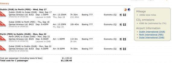 Mistake/ Error Fare – Dublin – Perth just $526.72 on Emirates