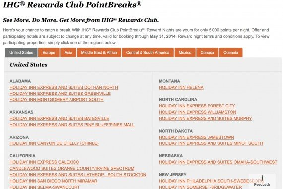 New PointBreak list of hotels is available for stays until May 31st