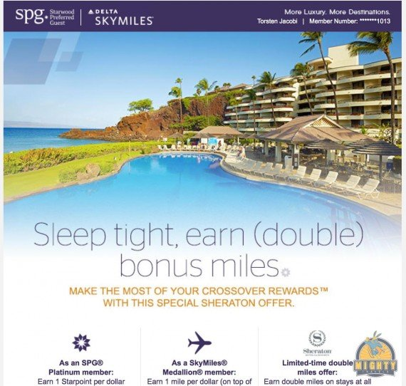 Double miles for Sheraton stays with Starwood Crossover Rewards