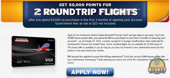 www.iflyswa.com and the Southwest Airlines Rapid Rewards Premier credit card 50,000 points sign-up bonus