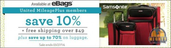 12 miles per dollar & 10% off on ebags.com at United Mileage Plus Shopping