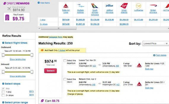 Airfare Deal – from Washington DC to Johannesburg, South Africa $975 on Delta Air Lines
