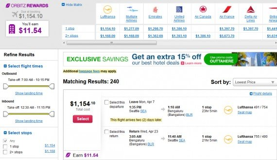 Airfare Deal – from Seattle to Bangalore, India $1,154 on Lufthansa