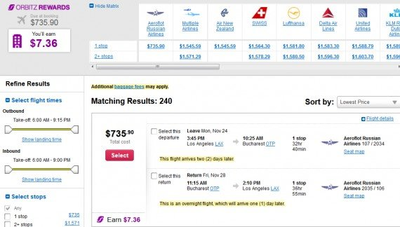 Airfare Deal – from Los Angeles to Bucharest, Romania $736 on Aeroflot Russian Airlines