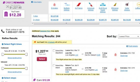 Airfare Deal – from Los Angeles to Dar Es Salaam, Tanzania $1,228 on Emirates