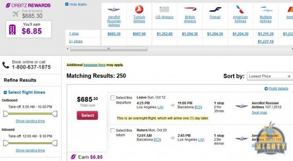 Airfare Deal – from Los Angeles to Barcelona, Spain $685 on Aeroflot Russian Airlines