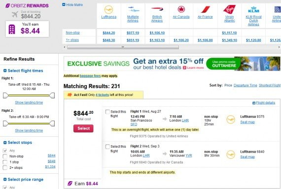 Airfare Deal – from San Francisco to London $844