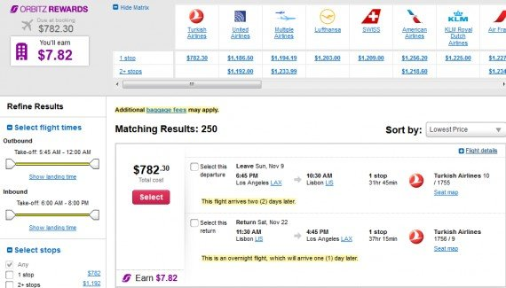 Airfare Deal – from Los Angeles to Lisbon, Portugal $840 on Turkish Airlines