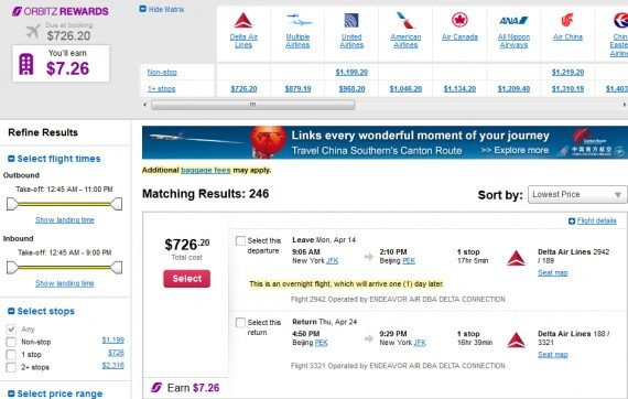 Airfare Deal – from New York to Beijing, China $726 on Delta Air Lines