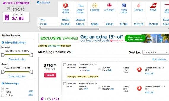 Airfare Deal – from Houston to Baku, Azerbaijan $793 on Turkish Airlines