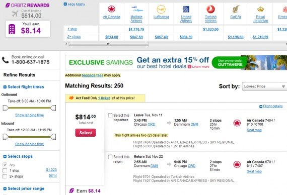 Airfare Deal – from Chicago to Dammam, Saudi Arabia $814 on Air Canada
