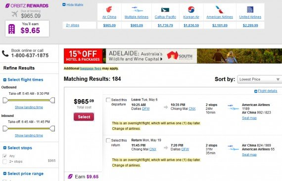 Airfare Deal – from Dallas to Chiang Mai, Thailand $965 on Air China and American Airlines