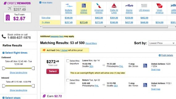 Airfare Deal – from Seattle to Philadelphia $272 on United Airlines
