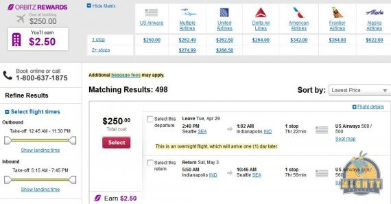 Airfare Deal – from Seattle to Indianapolis $250 on US Airways