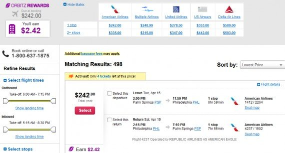 Airfare Deal – from Palm Springs to Philadelphia $242 on American Airlines