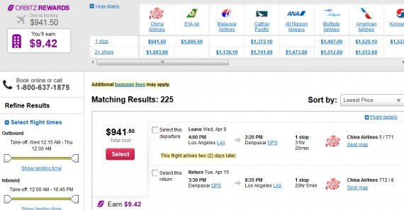 Airfare Deal – from Los Angeles to Denpasar, Bali $942 on China Airlines
