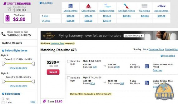 Airfare Deal – from San Jose to Boston and back to Sacramento $280 on United Airlines