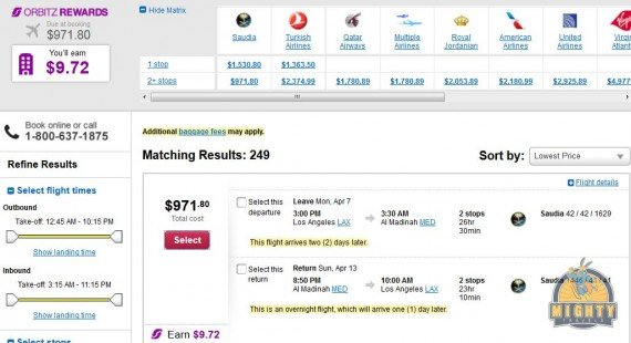 Airfare Deal – from Los Angeles to Al Madinah, Saudi Arabia $972 on Saudia