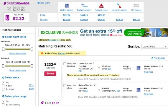 Airfare Deal – from Washington to Boise $232 on United Airlines