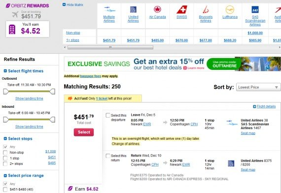 Airfare Deal – from Newark to Copenhagen $452 on United Airlines and SAS