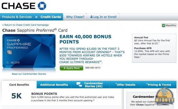 Review: Chase Sapphire credit card – earn 40,000 points when signing-up