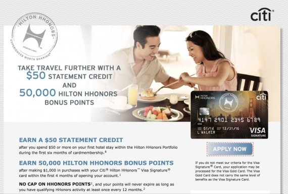 Citi® Hilton HHonors™ Visa Signature 50,000 credit card