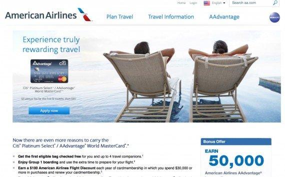 Citi Platinum Select/ AAdvantage World MasterCard 50,000 miles credit card