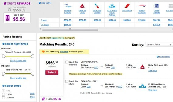 Airfare Deal – from San Francisco to Dublin $591 on Delta Air Lines and KLM