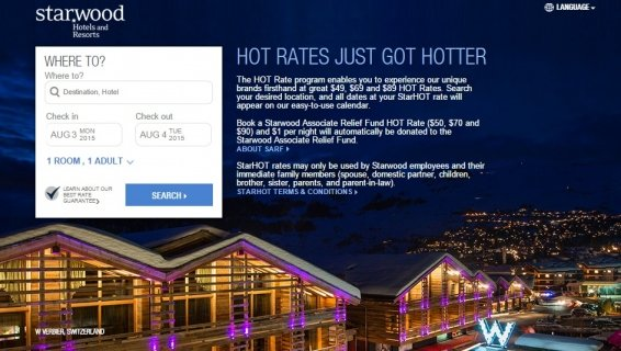 StarHOT rates and StarFRND rates compared with the usual cost of Starwood hotels