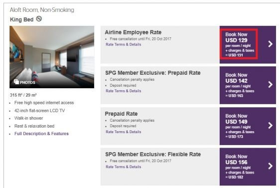 Is the Starwood Hotels airline employee discount worth having?