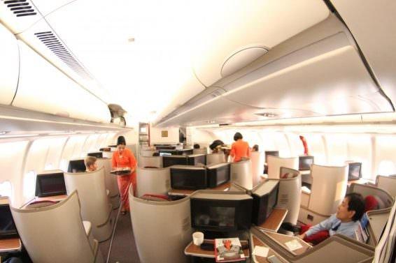 Interior of Garuda Business Class Jakarta (CGK) to Bali (DPS) using A330